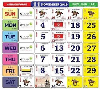 Kalendar November 2019