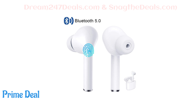 50%OFF Wireless Earbuds with Microphone Bluetooth 5.0 Headphones Touch Control in-Ear Wireless Earphones with Charging Case Noise Cancelling Waterproof Bluetooth Headset for iPhone Samsung Android iOS