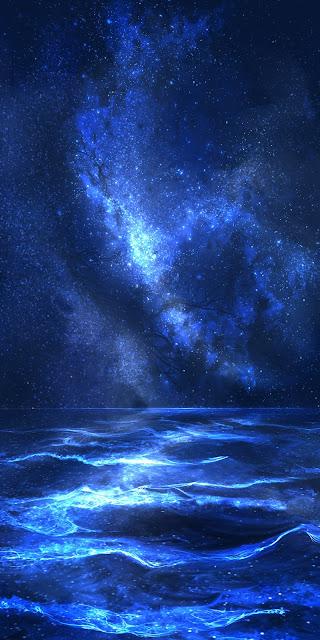 Biển giữa bầu trời sao đẹp rực rỡ