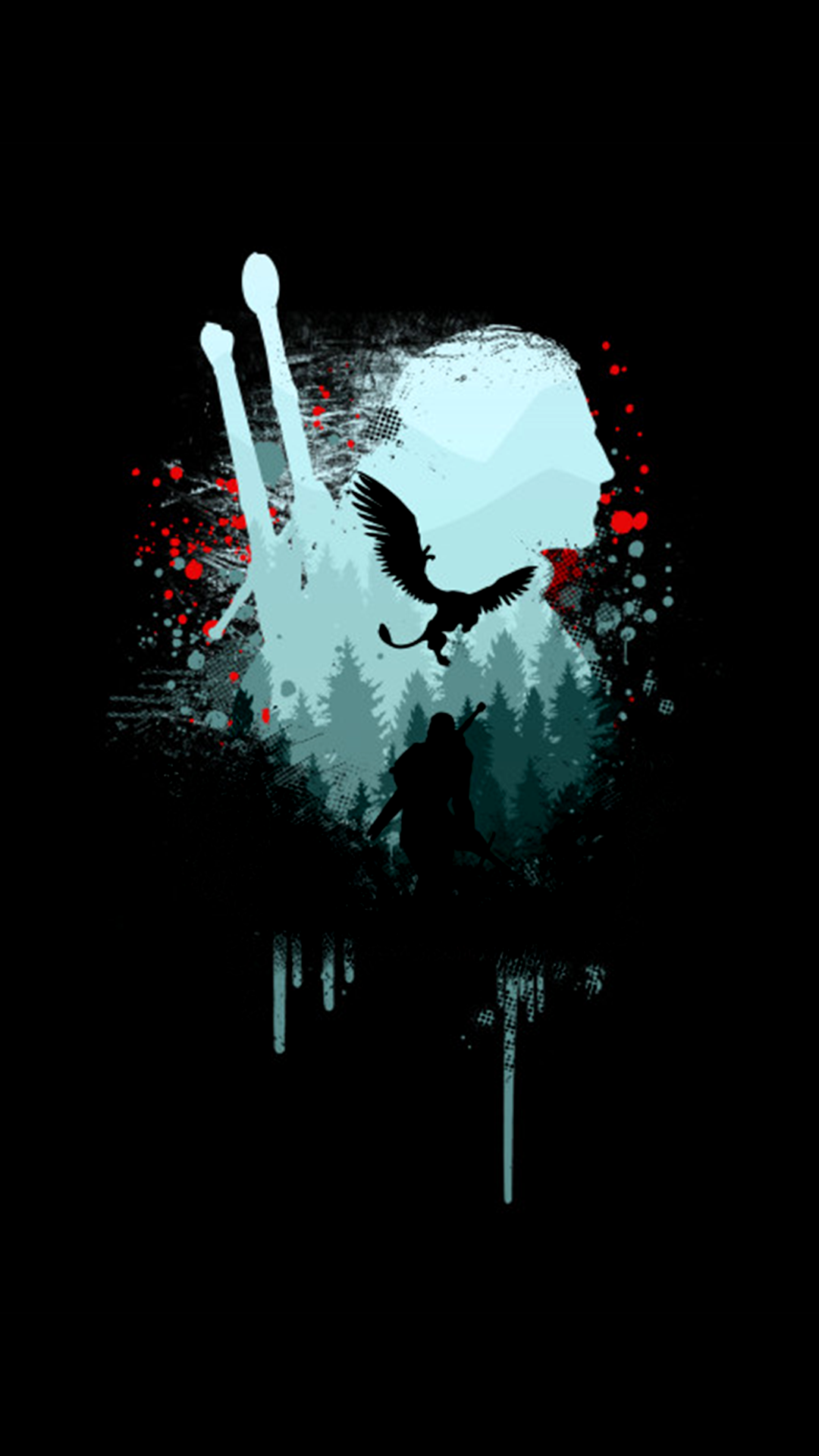 the witcher black wallpaper amoled