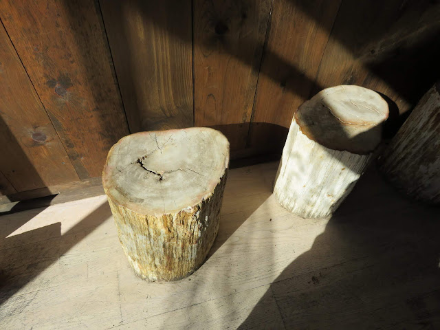 Log stools at Woodstock General in New York City