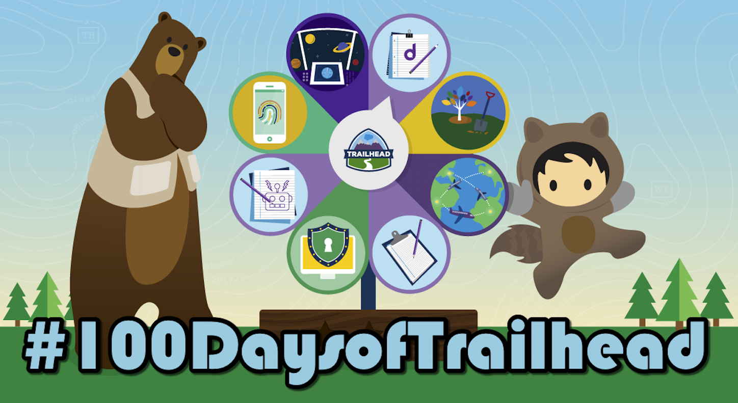 Salesforce MVP Tigh Loughhead completes #100DaysofTrailhead, one hundred Trailhead badges for 100 straight days!!