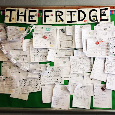 Students love hanging their papers on the wall in our class