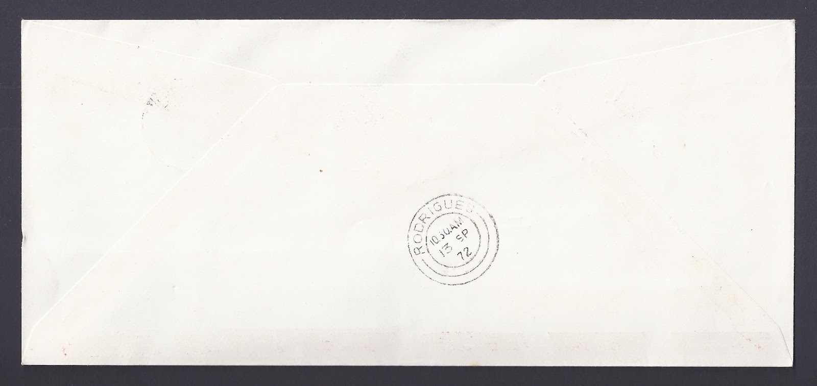 first flight cover handstamped upon arrival in rodrigues on 13 september 1972 itself