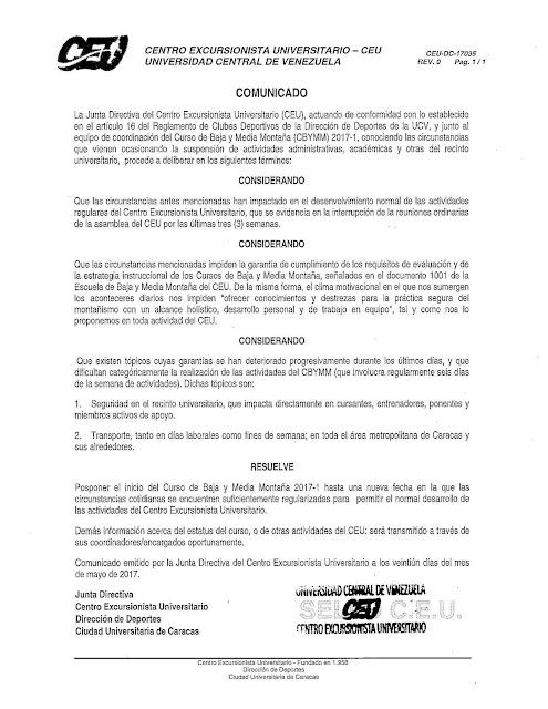 COMUNICADO CEU POSPUESTA CBYMM-2017-1