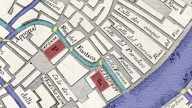 Sant'Aponal und San Silvestrro mit den noch offenen Kanälen auf einer Karte Venedigs aus dem Jahre 1729
