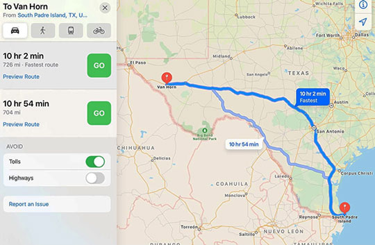 iPad map screenshot for distance between Van Horn and Boca Chica (Source: Palmia Observatory)