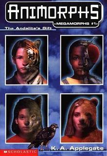Portraits of four Animorphs as half human half animal plus Tobias as a hawk
