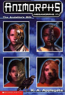 Portraits of four Animorphs as half human half animal plus Tobias as a hawk