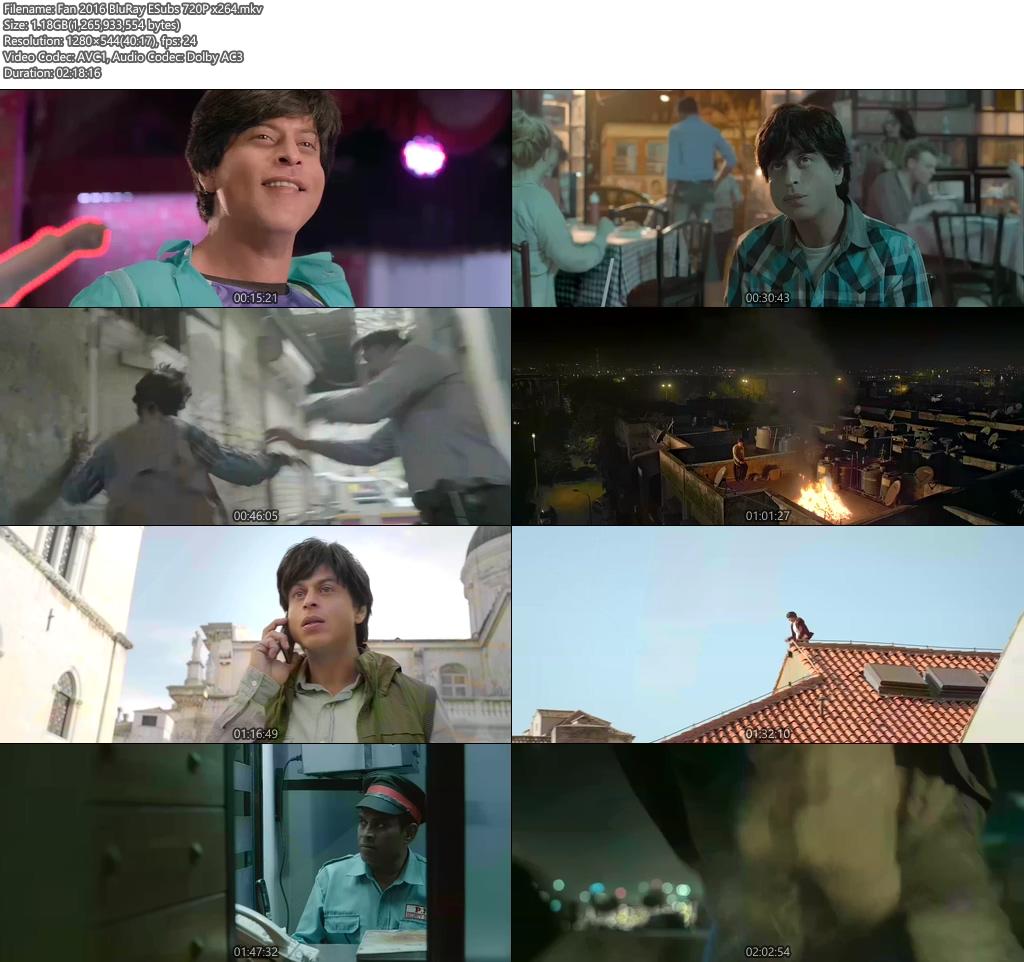 Fan 2016 BluRay ESubs 720p x264   480p 300MB   100MB HEVC Screenshot