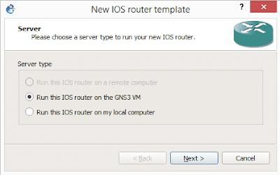 Memilih tipe server yang digunakan GNS3