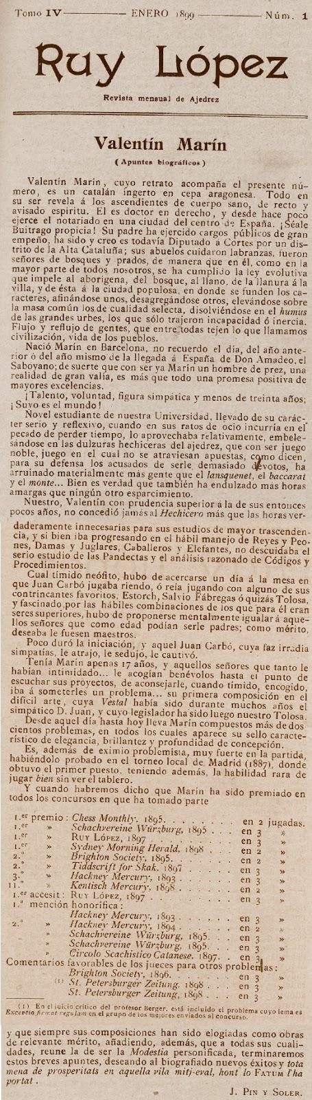 Artículo sobre Valentín Marín en la revista Ruy López, nº 1 - enero 1899