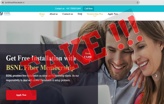 Fraudulent Website Notification : BSNL Bharat Fiber / Bharat Air Fiber Dealership registration scam through fake websites