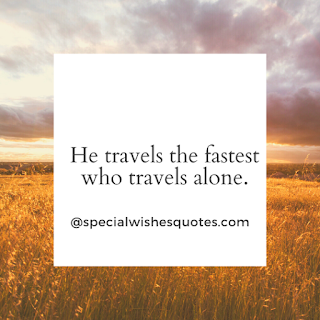 He travels the fastest who travels alone.