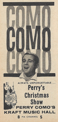 not so in 1961 where religion was seen as an integral part of christmas sure there were variety shows such as garry moores and red skeltons both this - Perry Como Christmas Show