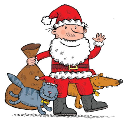 Illustration of Santa Claus with his pets