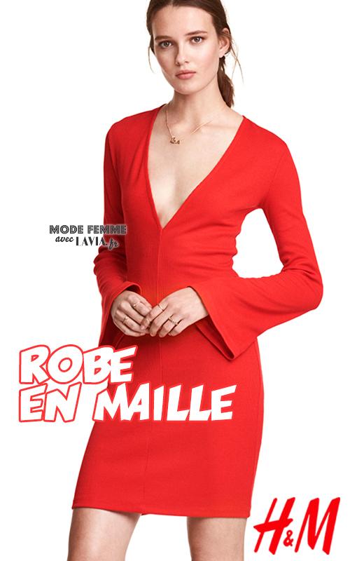 Robe courte en maille rouge décolleté V plongeant H&M