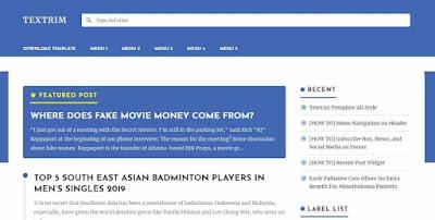 Textrim salah satu Rekomendasi template blogger terbaik