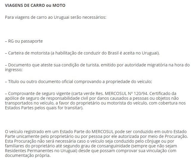 Documentos necessários para entrar no Uruguai