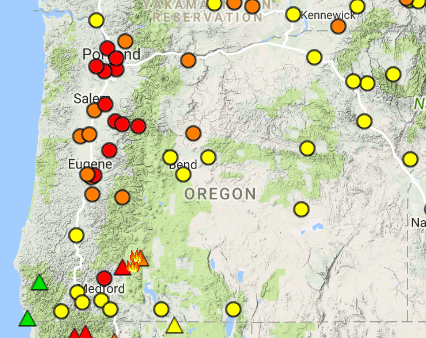 Oregon Smoke Information Weekend Air Quality Forecast for Oregon