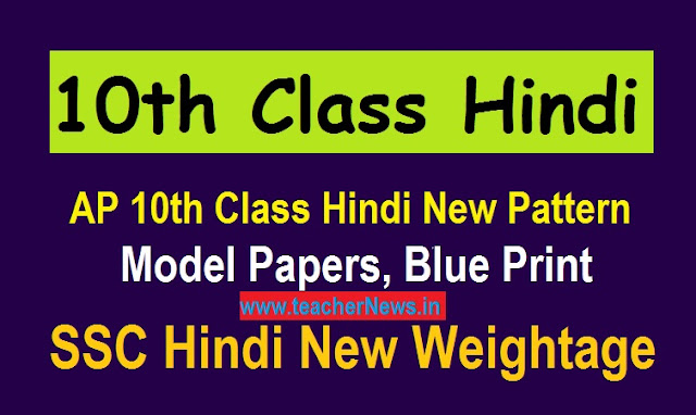 AP 10th Class Hindi New Pattern Model Papers, Blue Print - SSC Hindi New Weightage 2019-20