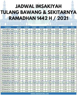 Jadwal imsakiyah ramadhan 2021 tulang bawang