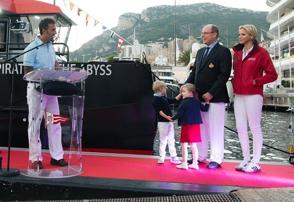 Princess Charlene and their twins Crown Prince Jacques and Princess Gabriella attended the christening ceremony at Monaco Yacht Club