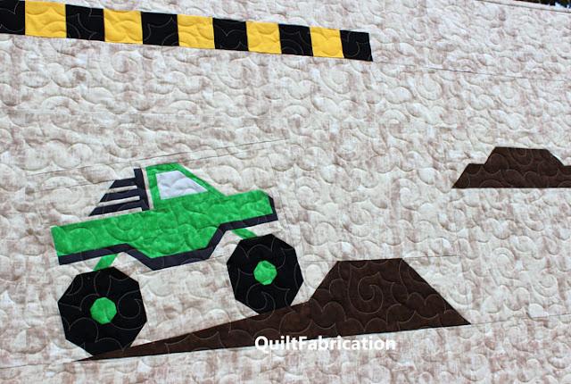 green monster truck piper quilt block