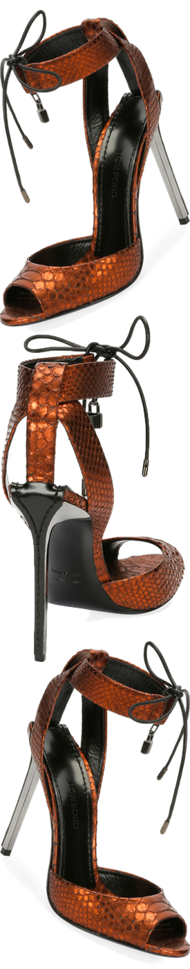 TOM FORD Metallic Python 105mm Padlock Sandal, Rust