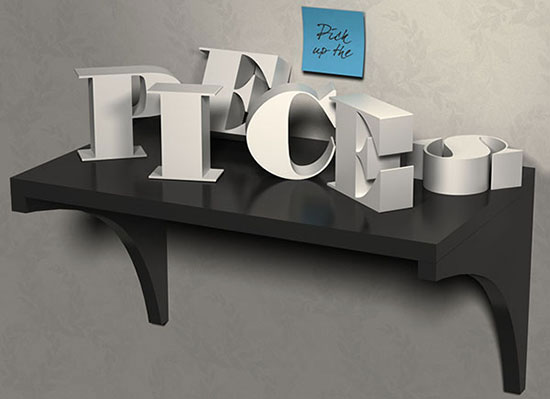 3d letters text efect photoshop