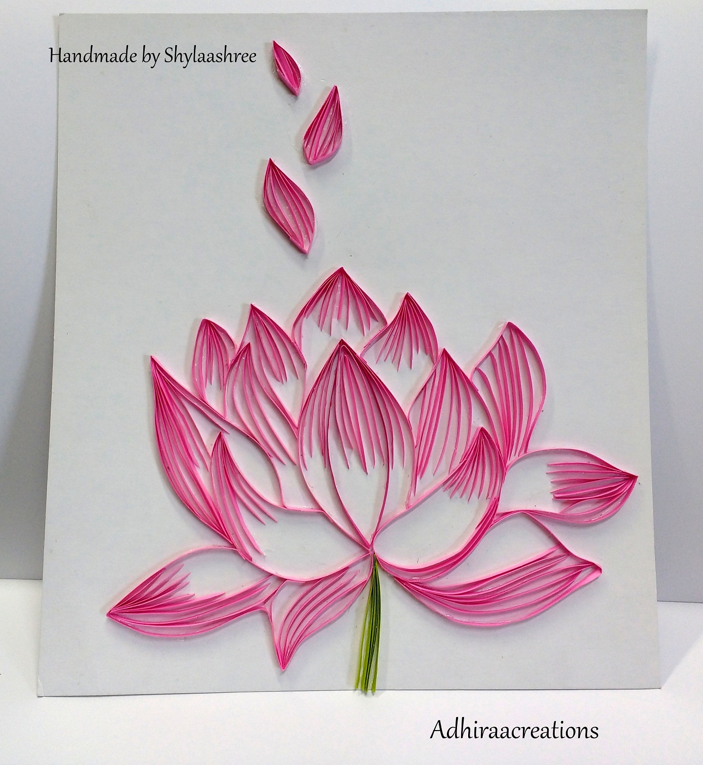 Adhiraacreations quilled lotus lotus the national flower of india emerges from muddy waters but un spoilt and pure it is considered to represent a wise and spiritually enlightened izmirmasajfo