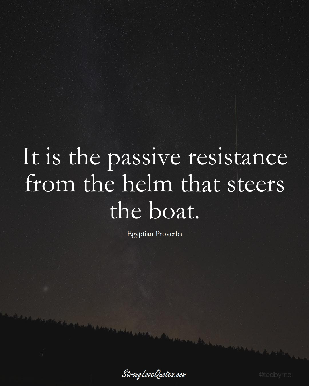 It is the passive resistance from the helm that steers the boat. (Egyptian Sayings);  #MiddleEasternSayings