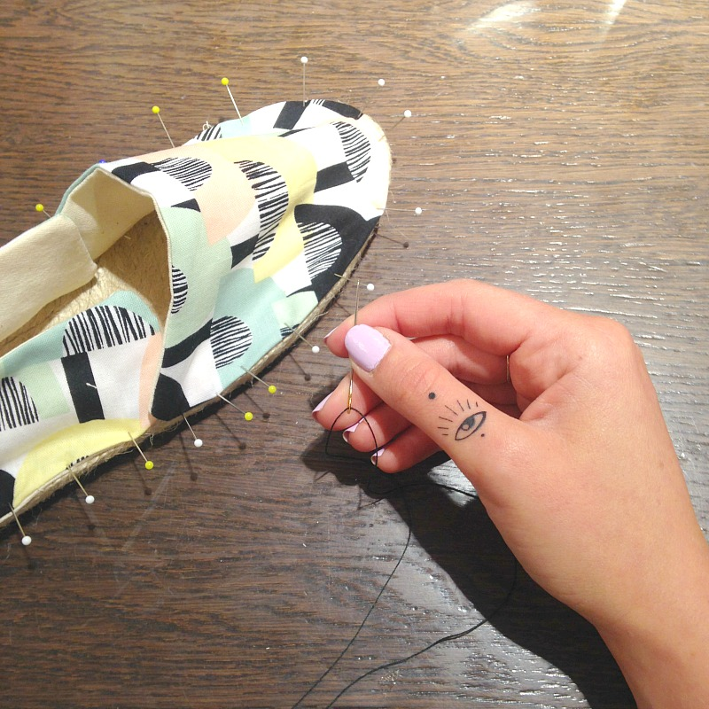 Pinning your Espadrilles ready for the hand stitch