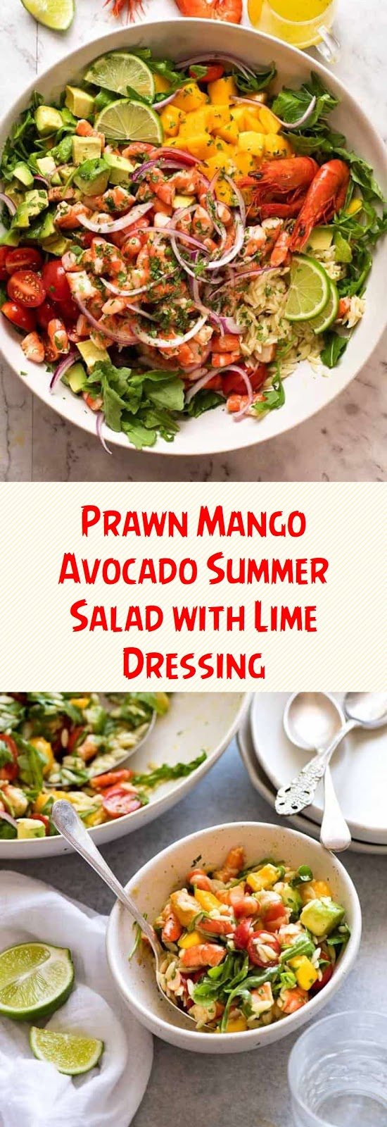 Prawn Mango Avocado Summer Salad with Lime Dressing