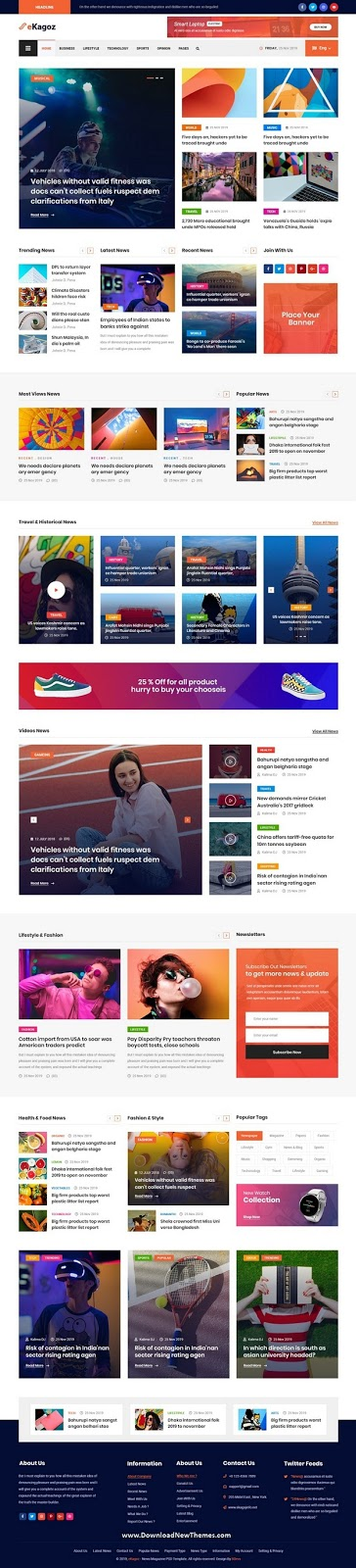 Blog, News & Magazine PSD Template