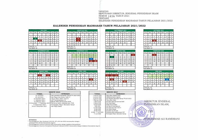 Download Kalender Pendidikan Madrasah Tahun Pelajaran 2021/2022 Kemenag Kementrian Agama RI