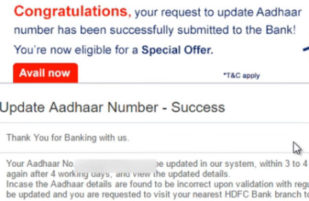 how to link aadhaar card to hdfc bank account through net banking