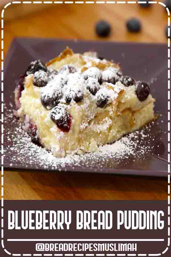 Blueberry Croissant Bread Pudding is delicious comfort food to make for breakfast, brunch or a party. Also great for Mother's Day, Father's Day and Christmas morning. It only takes a few simple ingredients and 10 minutes to prepare before baking. A great way to use up leftover croissants! Serve warm out of the oven. Video recipe.  #Fruit #Bread #Recipes #loaf #pan