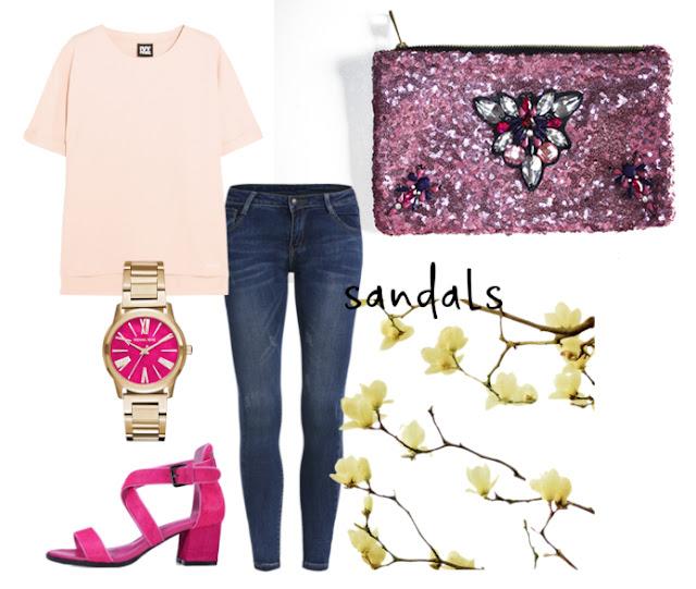 Bolso joya rosa y fucsia de pedreria y lentejuelas
