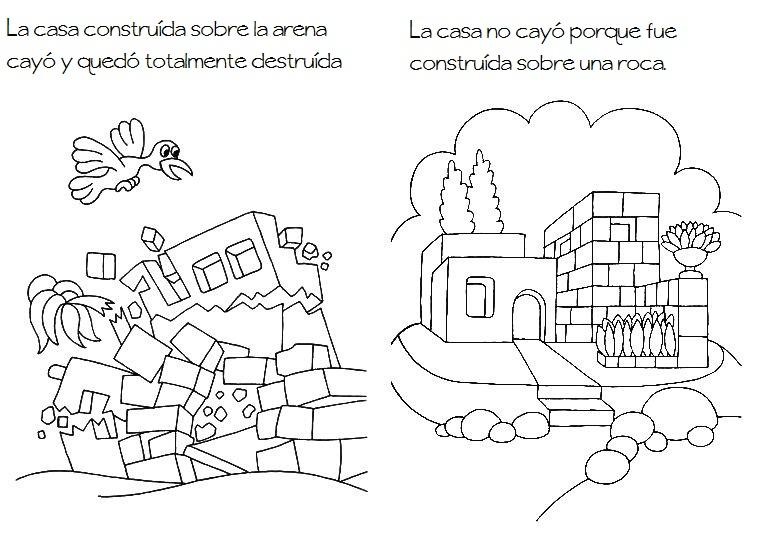 Para Colorear Parábola De La Casa Sobre Roca Para Colorear