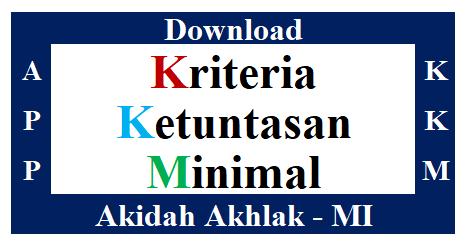KKM K2013 Mata Pelajaran Akidah Akhlak Madrasah Ibtidaiyah