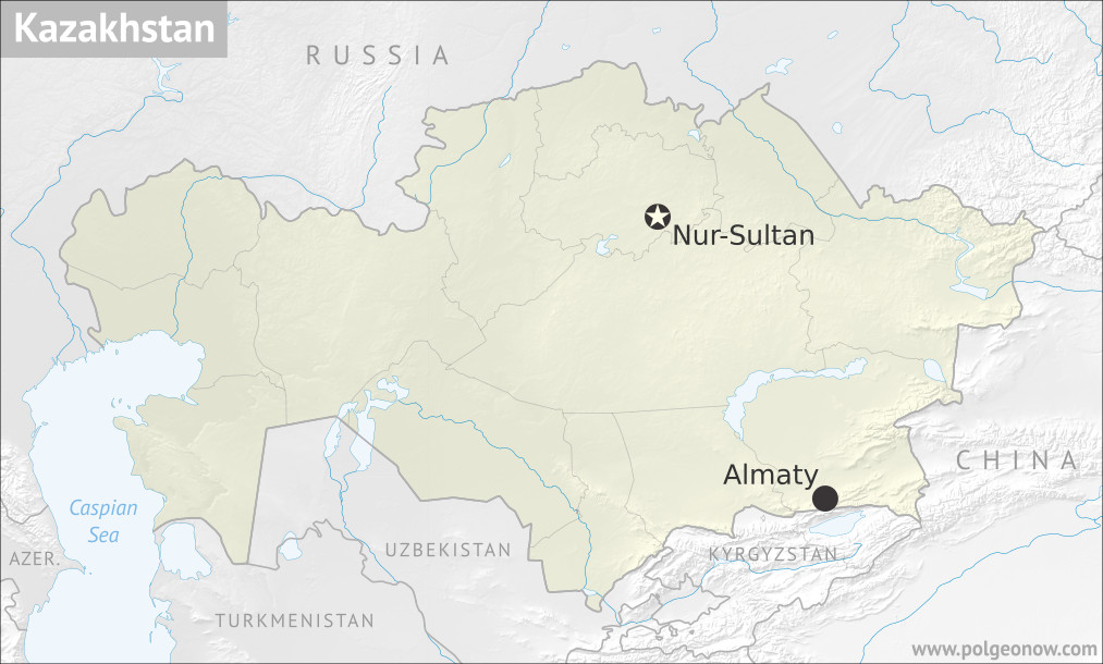 Map of Kazakhstan and the location of its capital city, Nur-Sultan (Nursultan), formerly Astana, as well as largest city Almaty