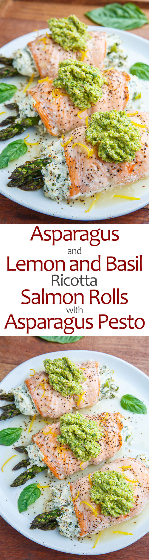 Asparagus and Lemon and Basil Ricotta Stuffed Salmon Rolls with Asparagus Pesto