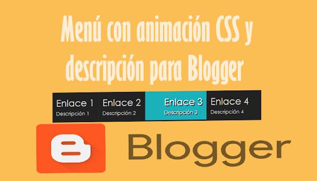 Menú con animación CSS y descripción para Blogger