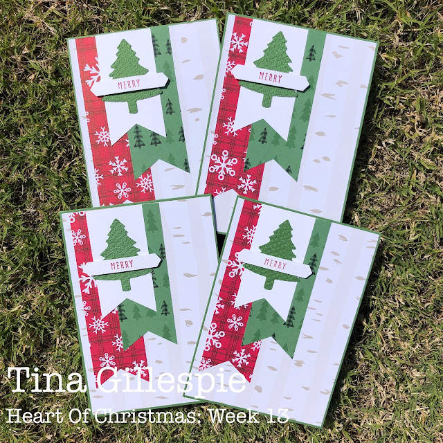 scissorspapercard, Stampin' Up!, Heart Of Christmas, Peaceful Prints DSP SAB, Christmas To Remember, Pine Tree Punch, Banner Punch, Tasteful Textile 3DEF, Christmas Card