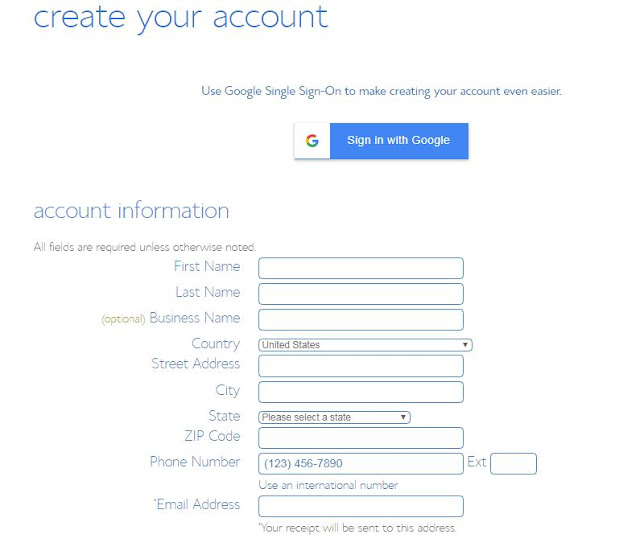 BlueHost Create Your Account