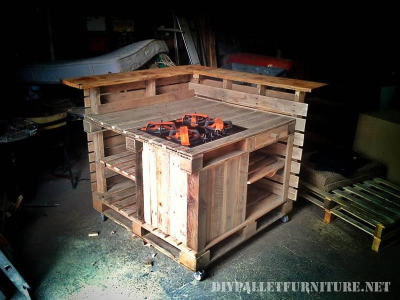 Cocina isla hecha con palets for Muebles de cocina con palets