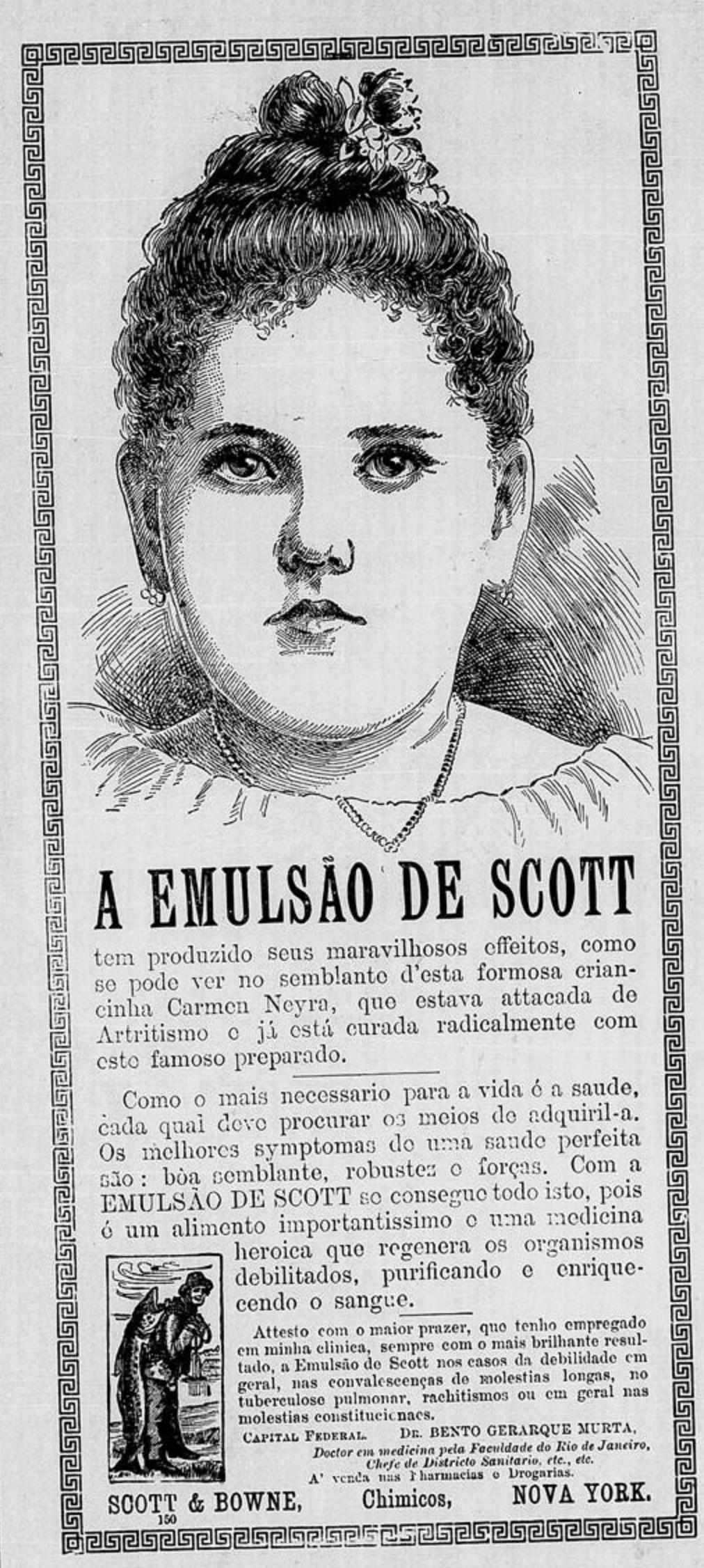 Propaganda antiga do Emulsão de Scott veiculada em 1904