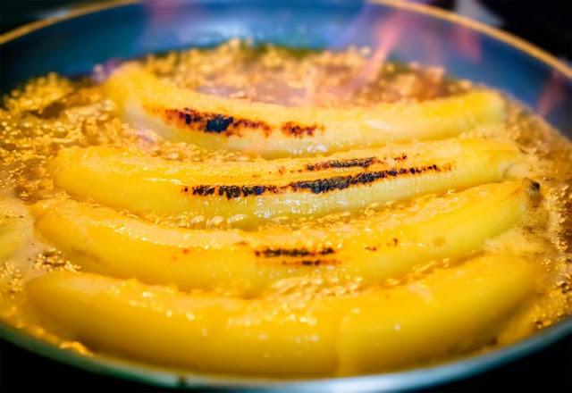 Banana Flambada com conhaque receita