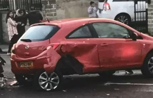 Vauxhall Corsa, Volkswagen Golf, and BMW damaged in police chase in Leeds Road, Thornbury